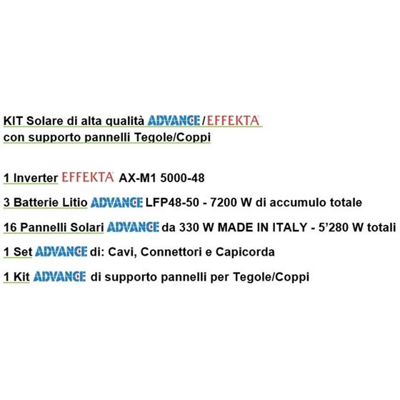 KITAES5000-T - Kit impianto solare completo 5000W (1 Inverter + 3 batterie Litio + 16 pannelli + accessori + struttura x tegole)