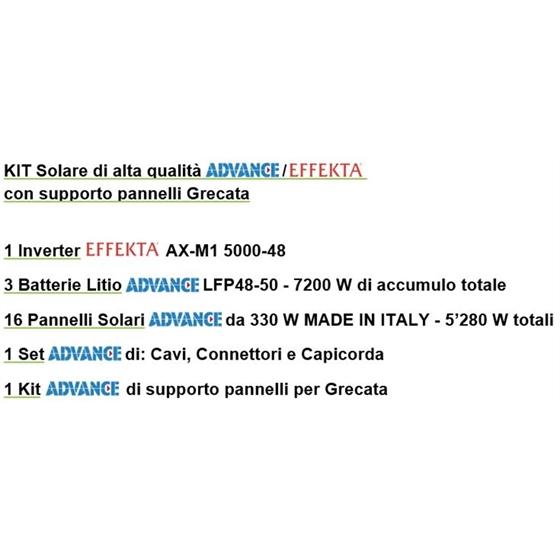 Kit impianto solare completo 5000W (1 Inverter + 3 batterie Litio + 16 pannelli + accessori + struttura x grecata)